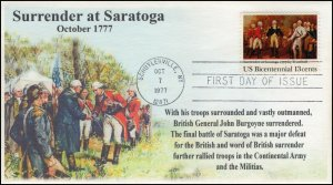AO-1728,1977, Surrender at Saratoga, Add-on Cachet, FDC, SC 1728,