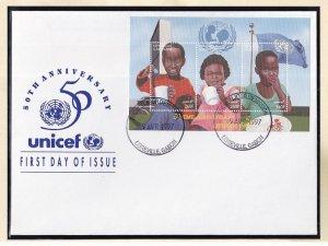 Gabon   #850   FDC   sheet  1997  Unicef 50 years