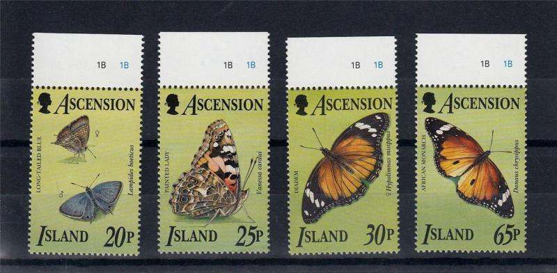 Butterflies 1995 MNH ASCENSION Island Insects Animals Mots Set 4 Stamps #A2039