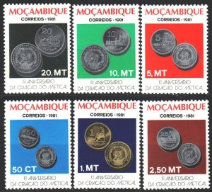 Mozambique. 1981. 822A-27A. Coins on stamps. MLH.