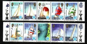 Solomon Is-Sc#573-two unused NH strips-America's Cup-Sailing-1987-