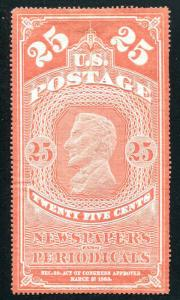 U.S: Newspaper & Periodicals 25¢ Carmine Red Lincoln Reprint of 1865 Issue NGAI