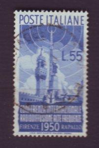 J22629 Jlstamps 1950 italy hv of set used #539 radio mast $90.00 scv