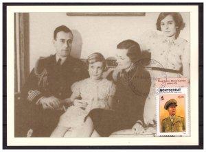 MONTSERRAT 1998 Lord Louis Mountbatten & family /WW II  Maximum Card