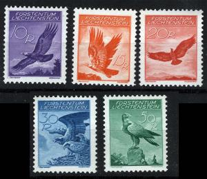 Liechtenstein Sc C9-C13 10r-50r Airmail Birds Set Never Hinged Original Gum