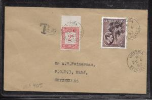 SEYCHELLES  (P2201B) 1952 KGVI 2C WITH POSTAGE DUE 2C LOCAL USEAGE