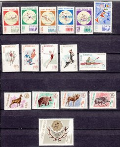 J27584 1964 & 65 romania 3 dif sets mh #1654-9,1789-93,1797-1801 sports