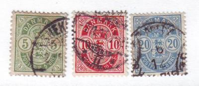 Denmark Sc 38-40 1884 Coat of Arms stamps used