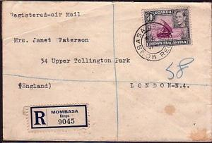 KENYA UGANDA TANGANYIKA 1938 5oc on registered cover Mombassa to UK........33249