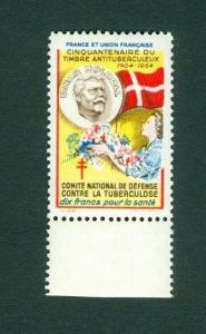 France. Denmark  Poster Stamp  Mnh  Danish Flag. X-Mas  Einar Holboll 1904-1954.
