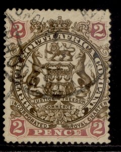 RHODESIA QV SG43a, 2d yellow-brown & mauve, USED. Cat £16.