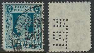 Burma Perfin N.B.I. for National Bank of India on Scott 28 - 4 Annas, inspect