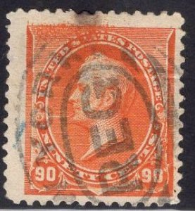 US Stamp Scott #229 90c Orange Perry USED SCV $140