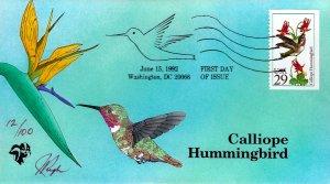 Pugh Designed/Painted Calliope Hummingbird FDC...4 of 100 created!