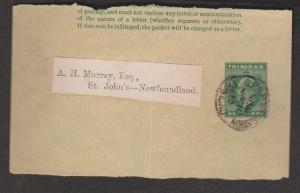 TRINIDAD Partial Half Penny Postal Wrapper To Newfoundland 1912 Port Of Spain