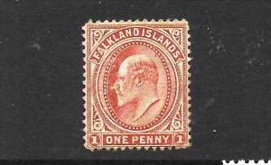 FALKLAND ISLANDS 1904-12  1d   COPPERY RED   KEVII   MLH      SG 44d