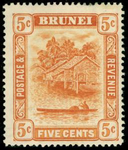 BRUNEI SG49, 5c orange, M MINT. Cat £26.