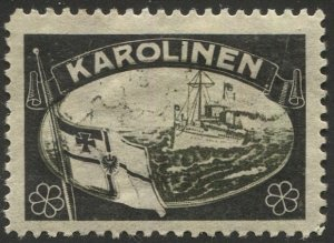 GERMANY 1920 Cinderella Mourning Label for Lost Territory of KAROLINEN IS., VF