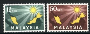Malaysia #2-3  Mint NH VF 1963 PD