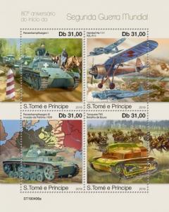 SAO TOME - 2019 - Start of World War II - Perf 4v Sheet - MNH