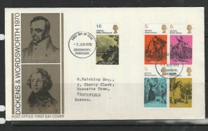 GB FDC 1970 Literary set, Cockermouth FDI, Typed Address,