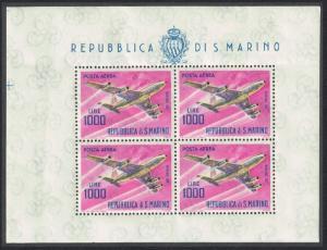 San Marino Boeing 707 Aircraft 1000L Sheetlet SG#742 MI#801KB