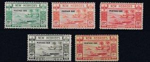 NEW  HEBRIDES  1938  S G  D6 - D10  POSTAGE DUE SET OF 5    VLMH  CAT £190