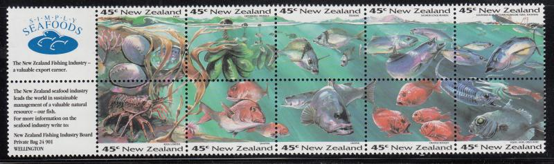 New Zealand 1993 MNH Scott #1179a Pane of 10 plus 2 labels Simply Seafoods, Fish
