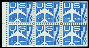 Scott C51a 1958 7c Airmail Booklet Pane Mint NH Cat $6.50