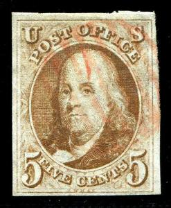 HERRICKSTAMP UNITED STATES Sc.# 1 Red Brown VF Used 4 Margin Stamp