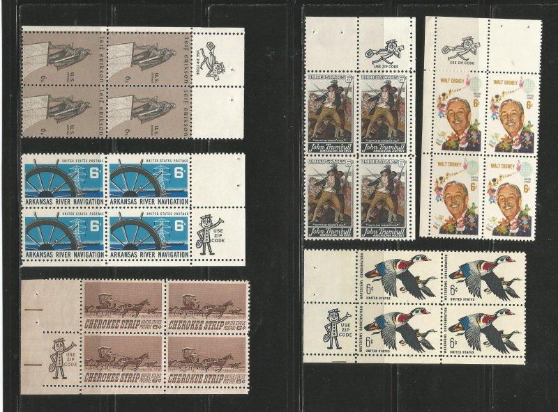 USA Stamps #1354,1358,1360,1361,1362,1365 Blocks of 4 (Zip Blocks)