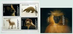 St Vincent 2017 wild fauna monkeys wild cats national geographic klb+s/s MNH