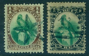 GUATEMALA 1879  Parrot  set  ¼c -1c  Scott #15-16  used VF