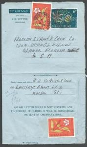 SIERRA LEONE 1964 6d aerogramme uprated used KOIDU TOWN to USA.............56992