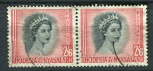 RHODESIA & NYASALAND; 1954 early QEII issue fine used 2s. 6d. pair