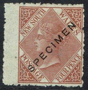 NEW SOUTH WALES 1867 QV 4D SPECIMEN WMK 4 PERF 13 NO GUM