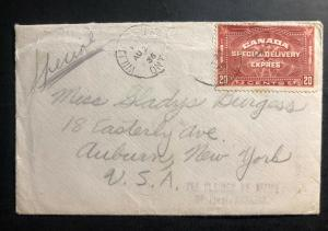 1936 Williamsburg Canada  Special Delivery Cover to Auburn  NY USA