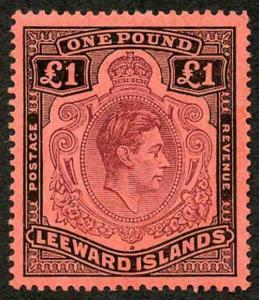 Leeward Is KGVI SG114b One Pound Brown-Purple and Black on Salmon Perf 14 U/M