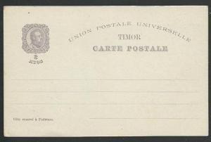 TIMOR 1898 3a  postcard unused.............................................58482