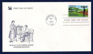 UNITED STATES FDC 22¢ Electrification 1985 Readers Digest
