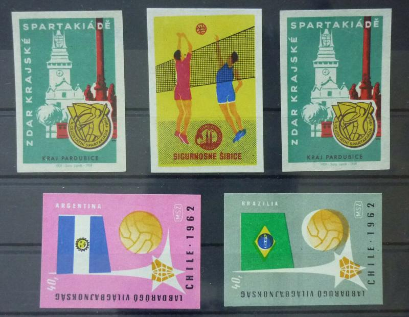 Match Box Labels ! sport chile 1962 brazil argentina ball volleyball GN31