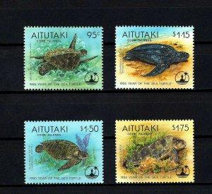 AITUTAKI - 1995 - TURTLE - RIDLEY - GREEN ++ YEAR OF SEA TURTLE - MINT MNH SET!