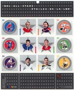 Canada USC #2085 Mint Pane of Six - 2005 NHL Hockey All Stars - VF-NH