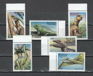 Gabon, Scott cat. 1006-1011. Dinosaurs issue. ^