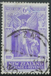 New Zealand 1920 Victory Six Pence SG 457 used