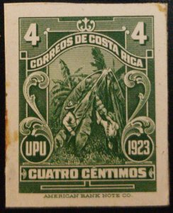 J) 1923 COSTA RICA, BANANA GROWING, AMERICAN BANK NOTE, DIE PROOF, IMPERFORATED