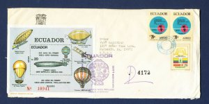ECUADOR - # 1060 three Zeppelin S/S on cover mailed to USA - 1984 - TWO SCANS