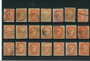 21 Small Queens Various cancels shades and years, Canada used