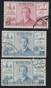 Iraq # 161-63, use set, King Faisal II, 6th Arab Engineers Conference