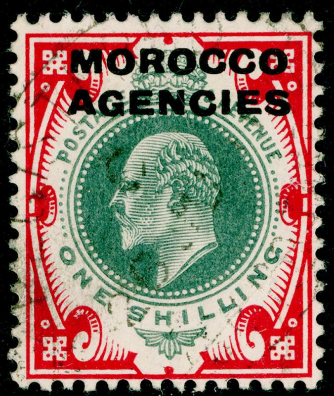 MOROCCO AGENCIES SG37, 1s dull green & carmine, USED. Cat £17.